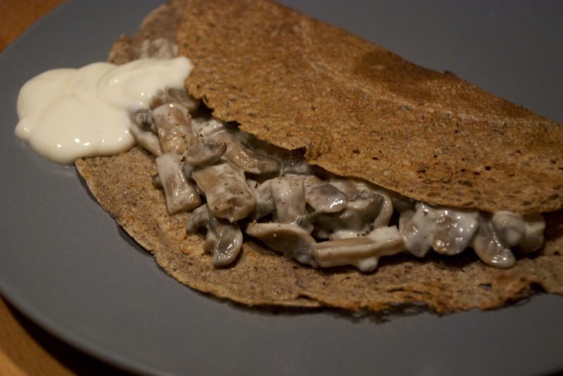 Galettes con i funghi alla crema